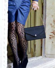 indigo 80s dress faux leather