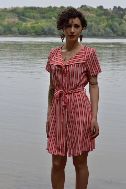 Hajdučica Clothing - Online Store - Dogvil red & white dress